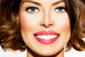 Beautiful woman smiling with white teeth