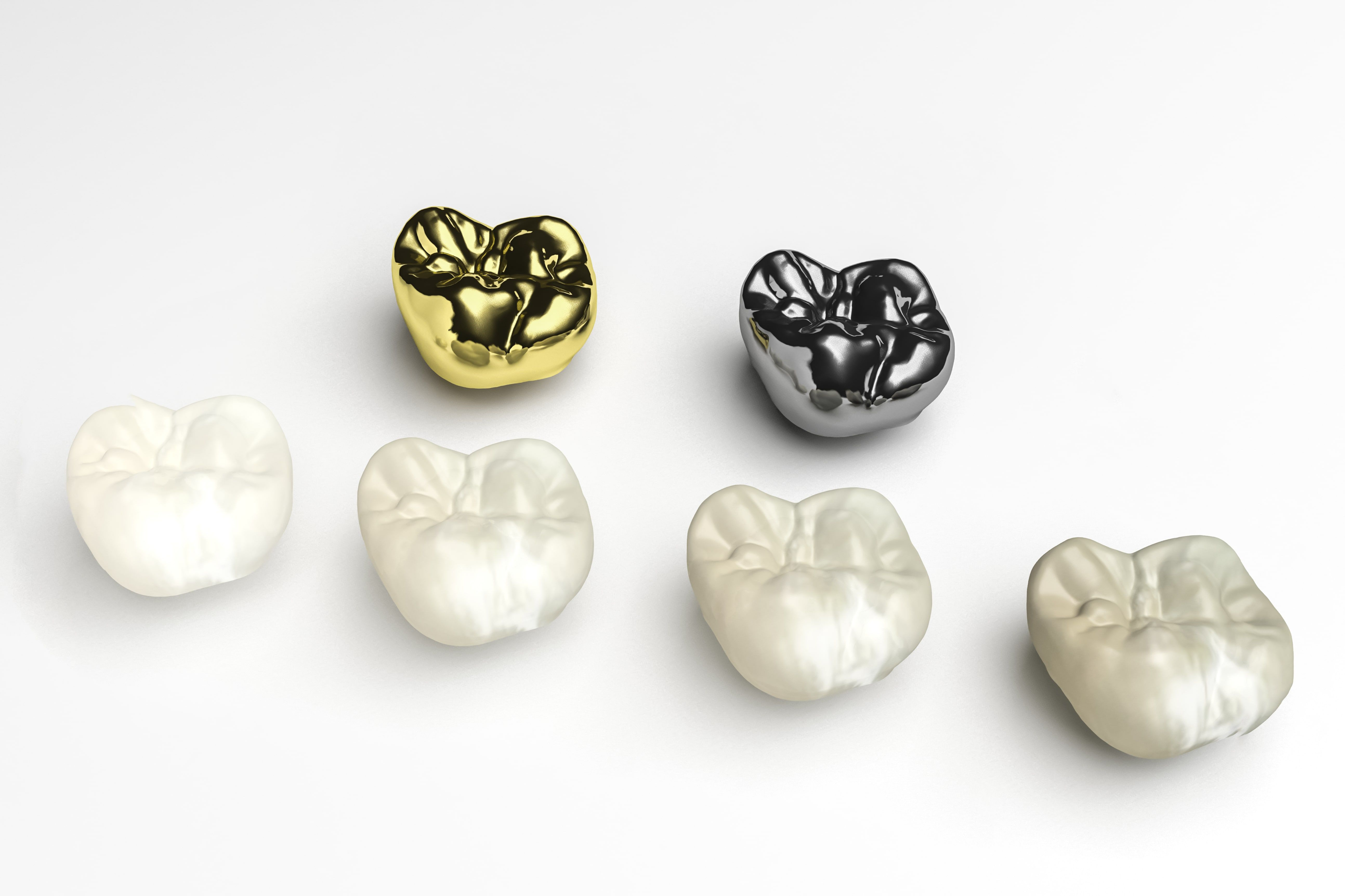 Types of dental crowns on a white background