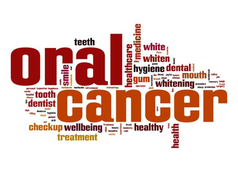 Oral cancer word cloud in red and orange text