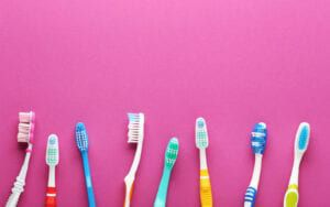 Selection of different toothbrushes